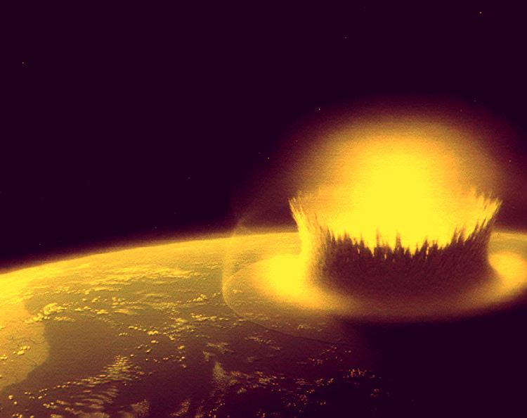 A large asteroid strikes Earth