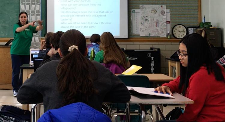 Teacher presents a slideshow to students