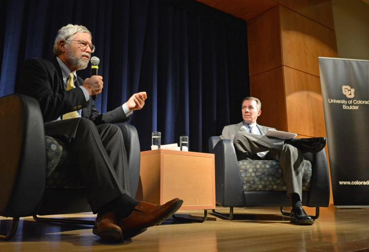 Former Barack Obama science advisor John Holdren, left, with engineering Dean Bobby Braun at a public event on campus Nov 16. Photo by Casey A. Cass/University of Colorado