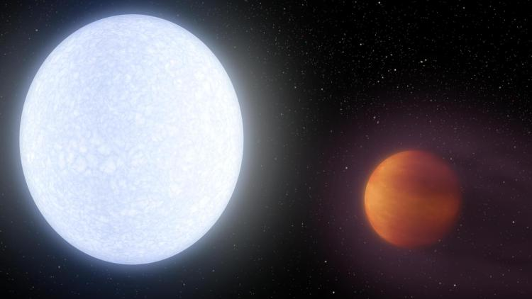Artist's depiction of  the planet KELT-9b next to its star
