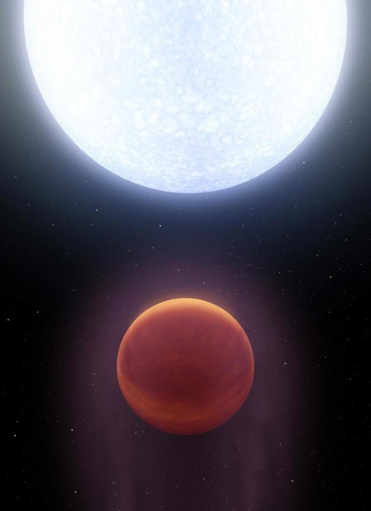 Artist's depiction of planet in orbit around a white star.