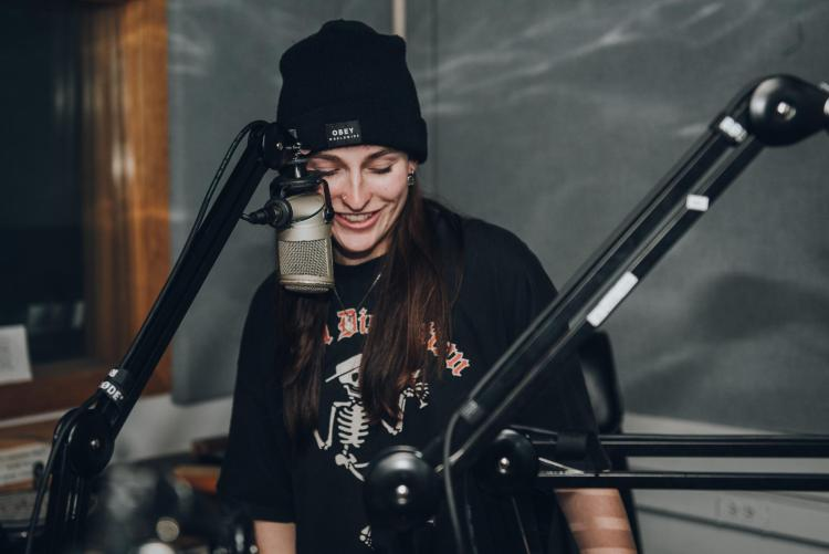 Kylie in the studio