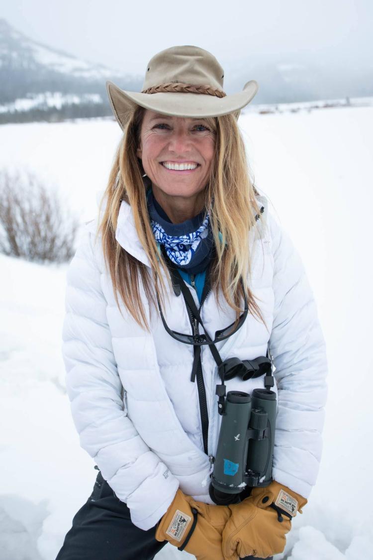 Joanna Lambert in Yellowstone in winter.