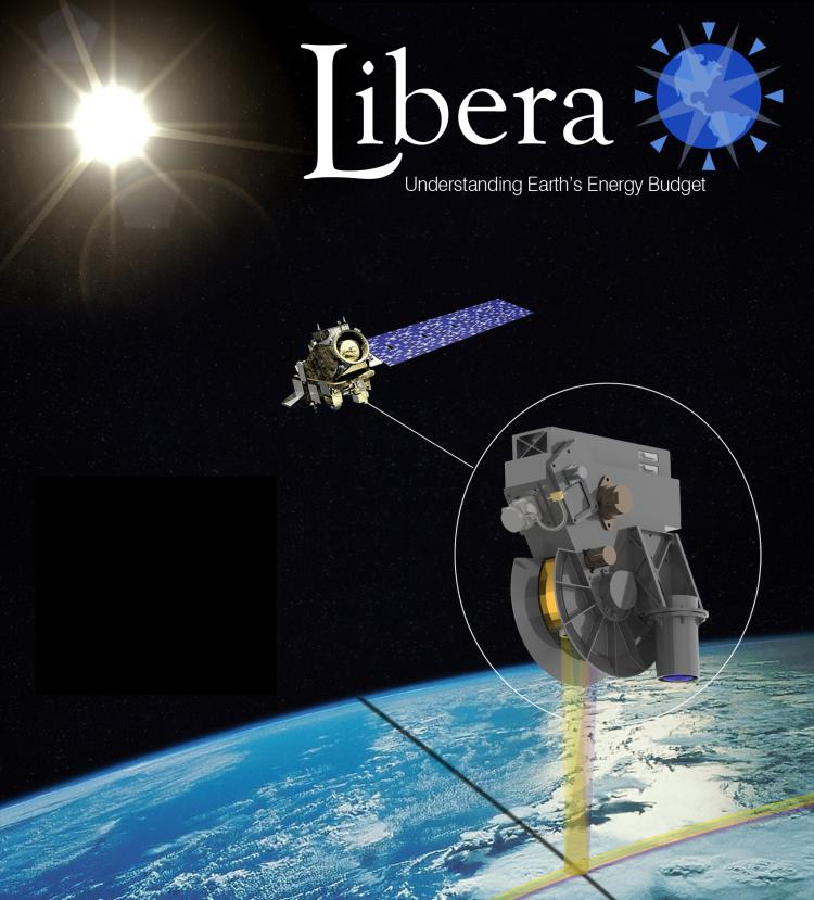 "A graphic of the Libera instrument, with the tagline ""Understanding Earth's Energy Budget,"" as it would look on a satellite."