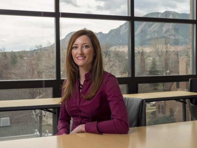 Lori Peek in her office at CU Boulder