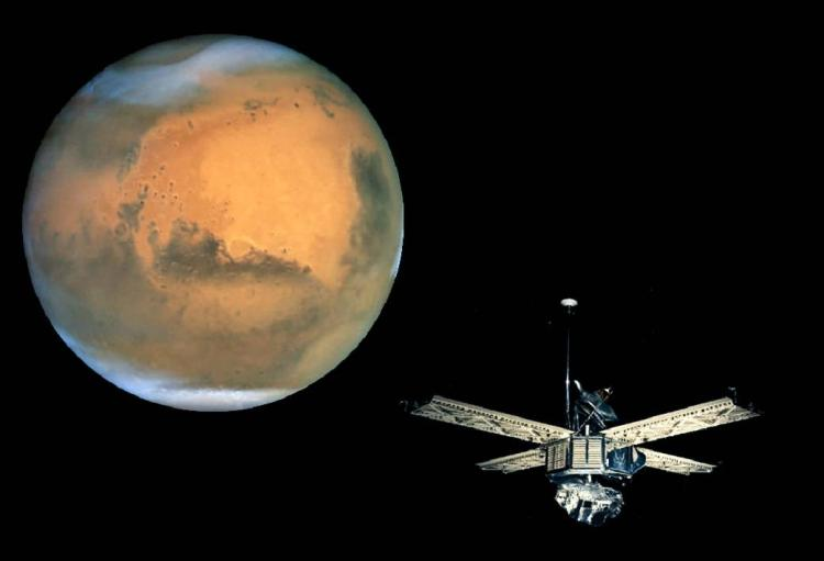 Spacecraft approaching Mars