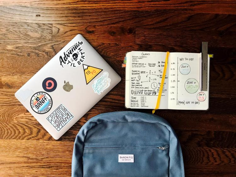 laptop, notebook, and backpack