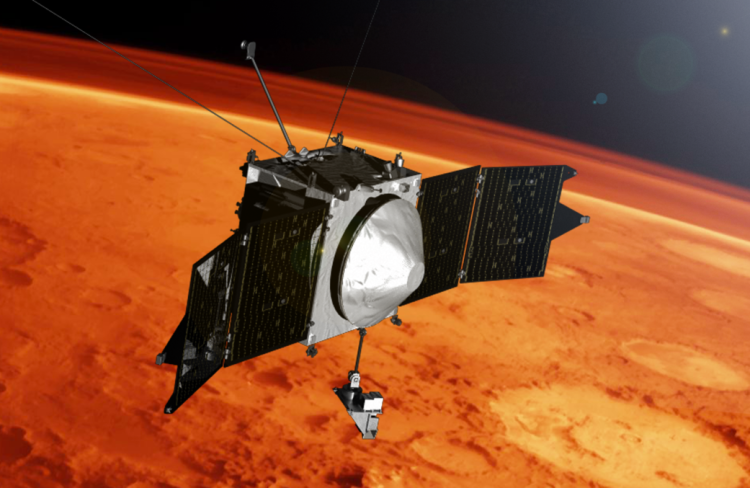 MAVEN spacecraft near Mars