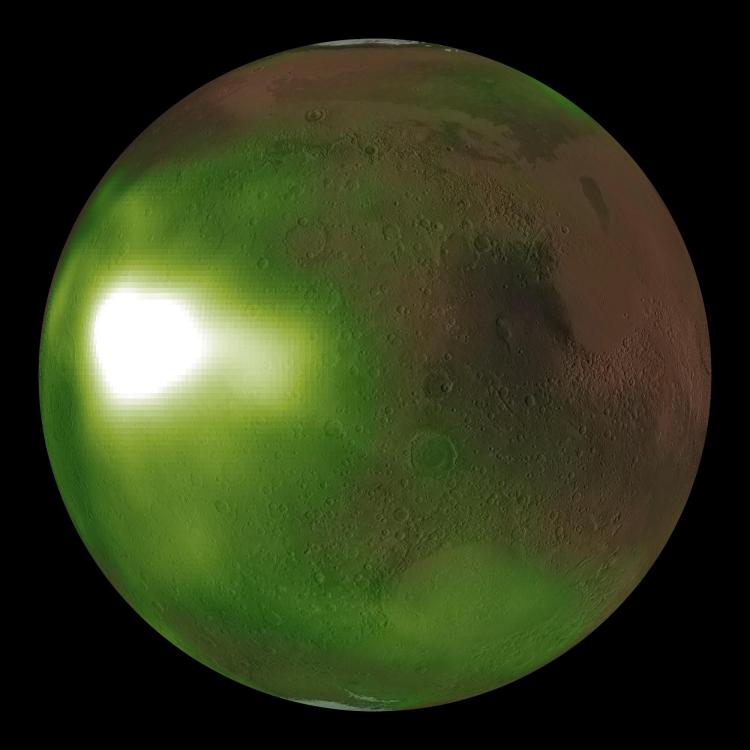 An abnormally bright spot just above Mars' equator.