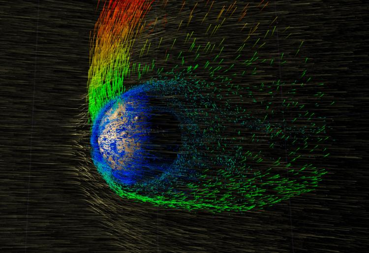 Graphic illustrating how energy emitted by the sun strips away Mars' already-thin atmosphere.