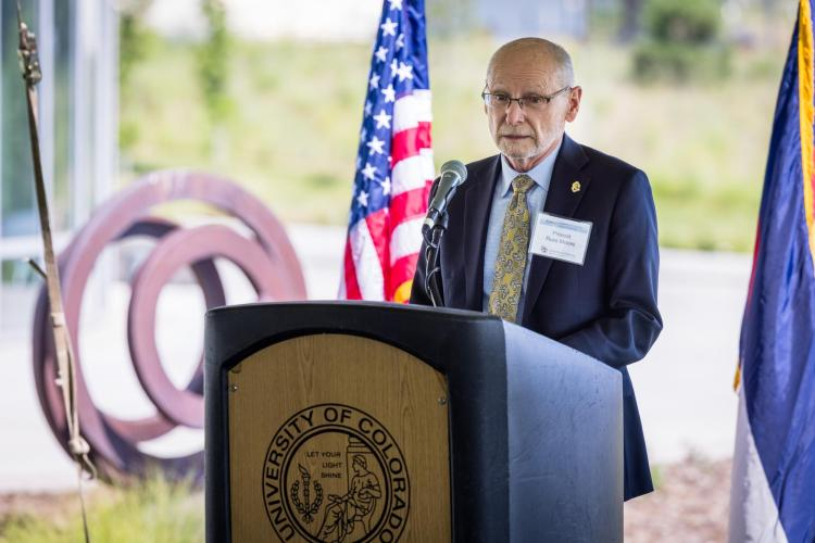 CU Boulder Provost Russell Moore speaks during amemorandum of understanding signing event Aug. 20 on the UC Colorado Springs campus. (Photo provided)