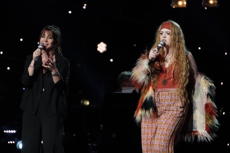 Mollie Isaacs and fellow contestant Lauren Jean performing on American Idol stage in Hollywood