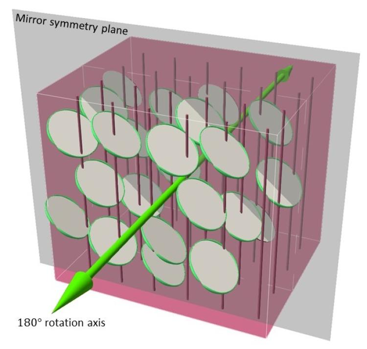 A graphic demonstrating the two types of symmetry in a monoclinic liquid crystal (one mirror plane and one 180-degree axis of rotation)