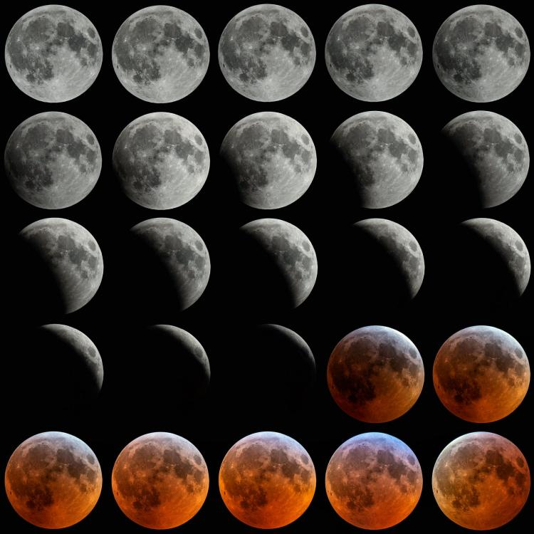 Time lapse of the moon during a total lunar eclipse in January 2019.