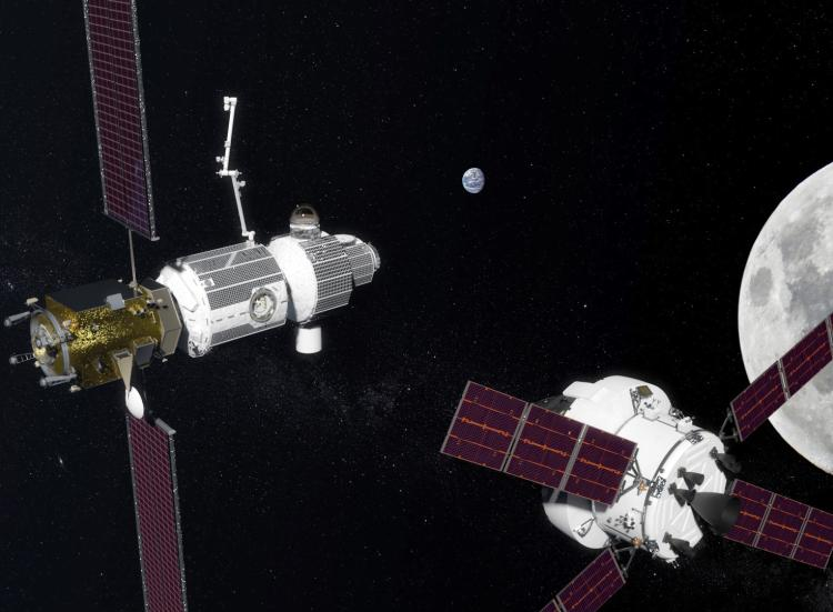 Illustration of NASA's planned Orion Spacecraft (right) docking at the Lunar Gateway (left).