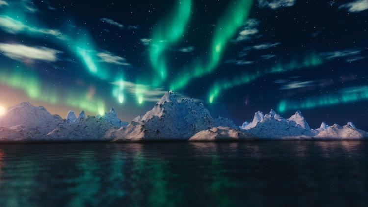 The Northern Lights over a glacier in the Arctic