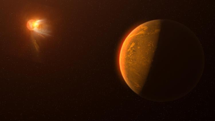 Artist's concept of a planet with a star ejecting a flare in the background.