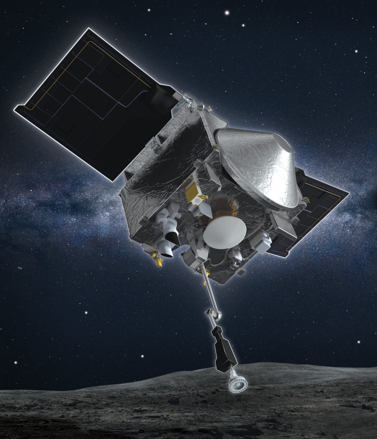 Artist's depiction of the OSIRIS-REx spacecraft using its extendable arm to collect a sample of material from the surface of Bennu.