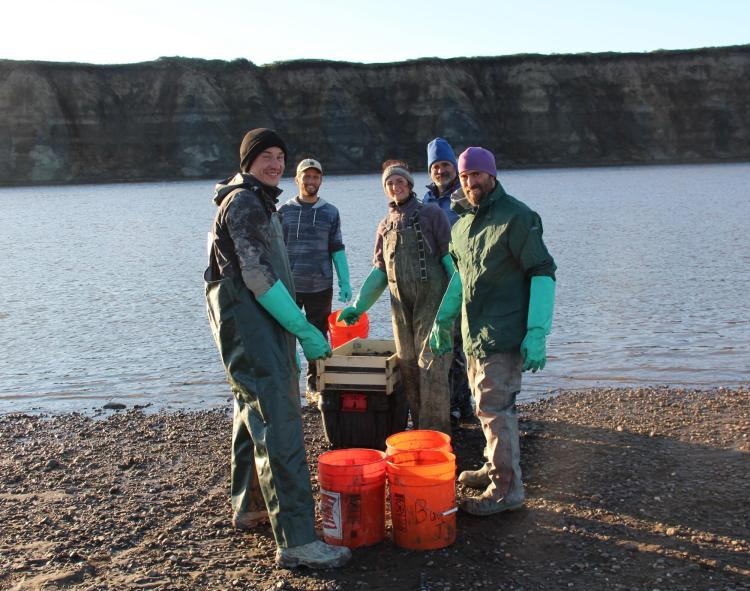 Paleontology team posing