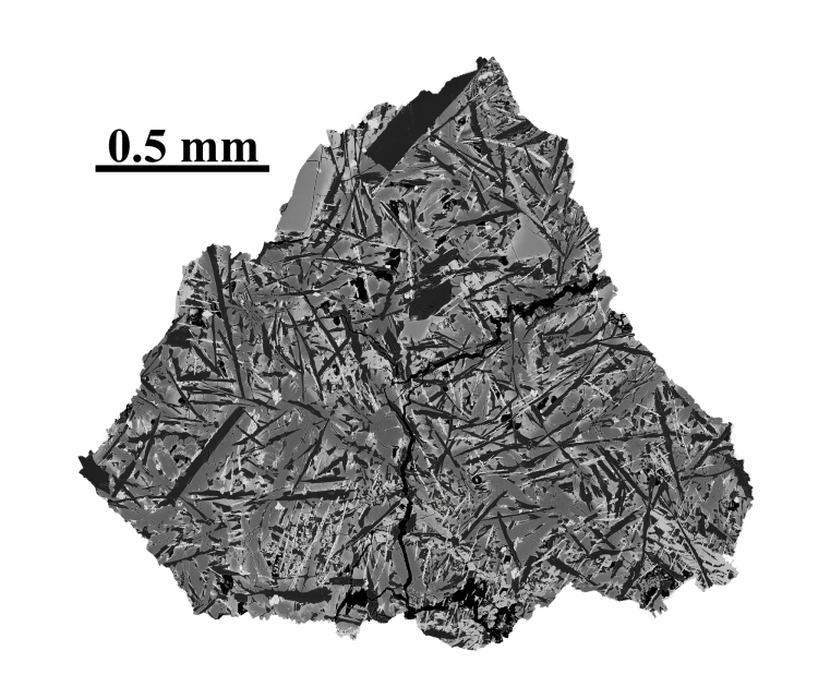 Image of moon sample with 0.5 millimeters noted for scale.