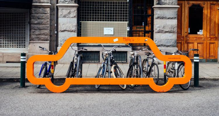 Bikes on a bicycle rack