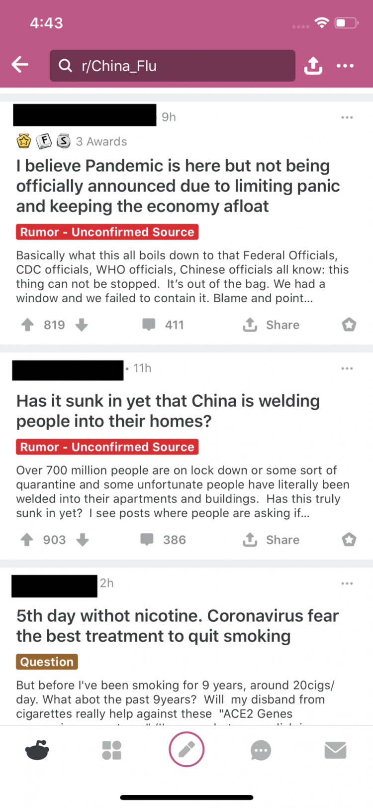 "A series of posts on r/China_flu. The top two focus on the World Health Organization and China and have been labeled ""Rumor – Unconfirmed source."""