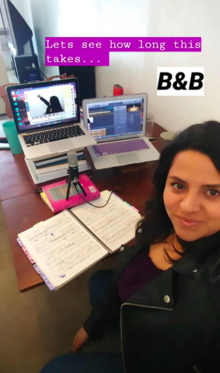 Behind the scenes view of Berenice Carrera recording for Béatrice et Bénédict