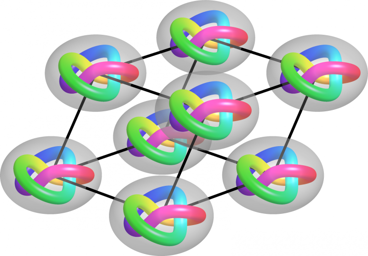 A graphic representing a lattice of trefoil knots tied in a solution of liquid crystals.