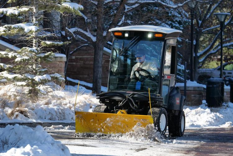 Snow plow on the CU Boulder campus