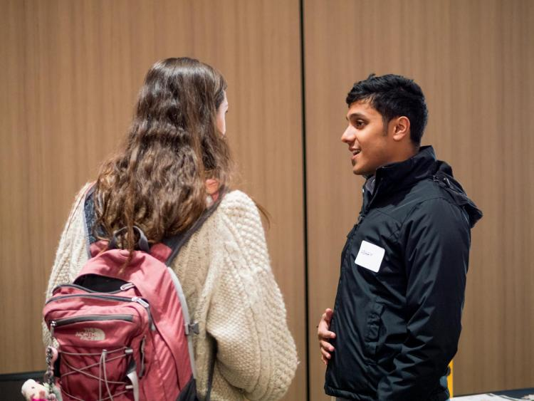 Students chat during kickoff event at Campus Startup Hub