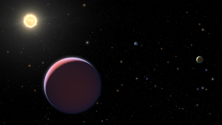 An artist's depiction of the three planets and star of the Kepler 51 system.