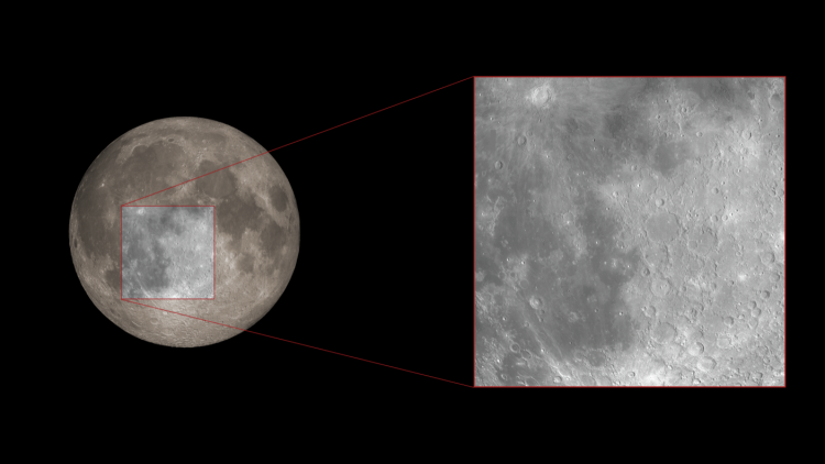 Diagram showing a close up of a specific region of the moon.