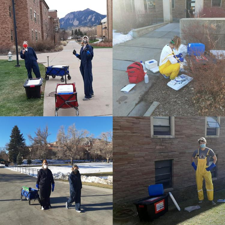 Students on campus sampling wastewater