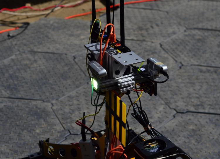 The LIDAR system mounted on top of this Husky allows the robot to navigate underground.
