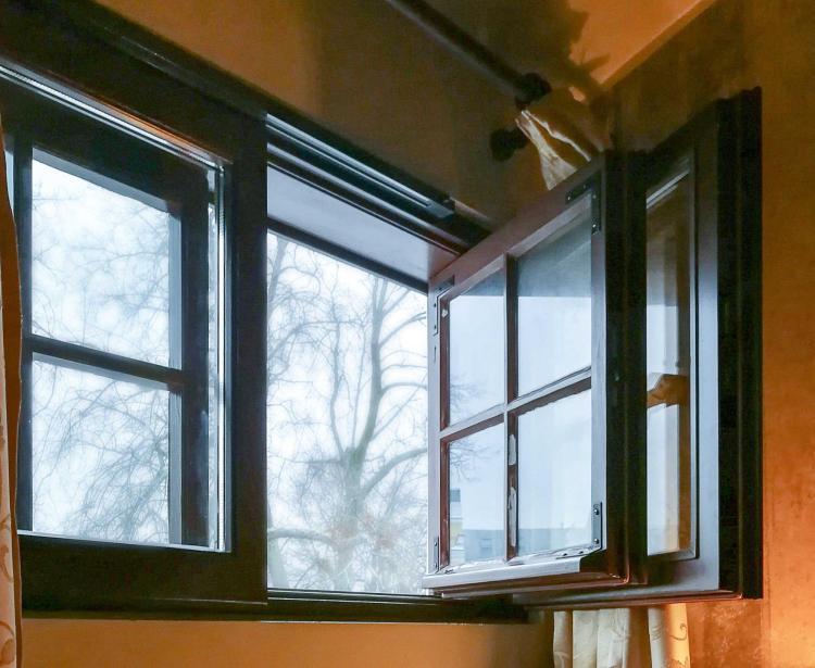 Open window in winter