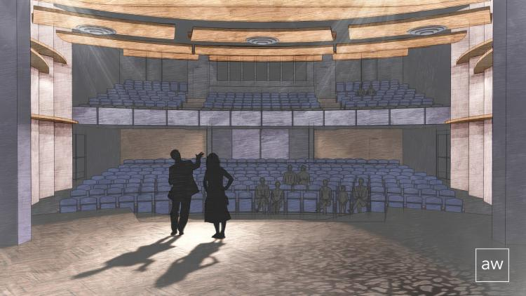 A rendering of the new Roe Green Theatre, to open in 2023 at CU Boulder