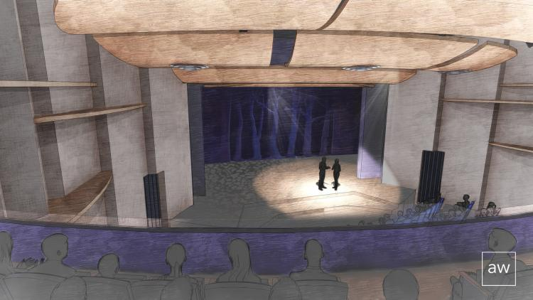 A render of the new Roe Green Theater, which will open in 2023 at CU Boulder