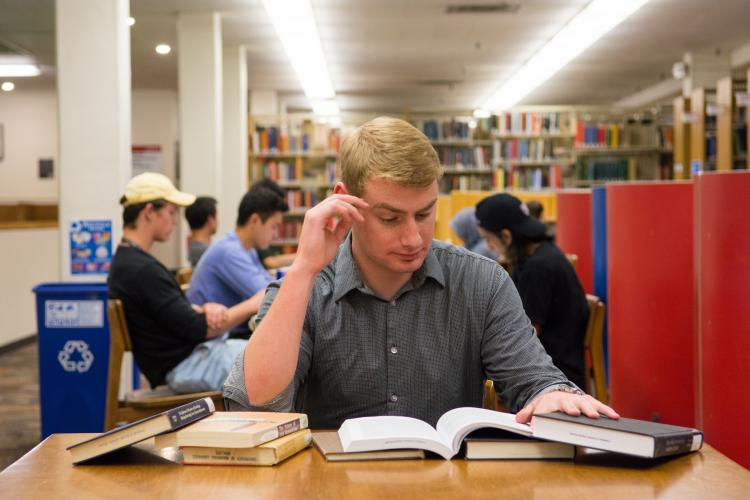 Nick Zyzda reads at Norlin Library