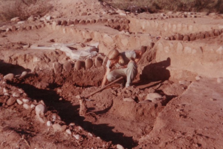 Lekson excavating site in 1972