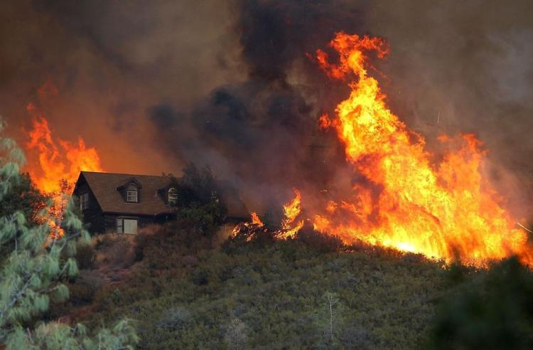 Fire consumes a home in Lake County California