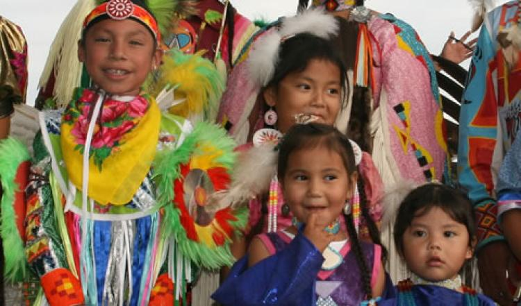Young Arapaho dancers in traditional Arapaho dress