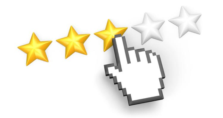Hand graphic pointing at 3 star rating