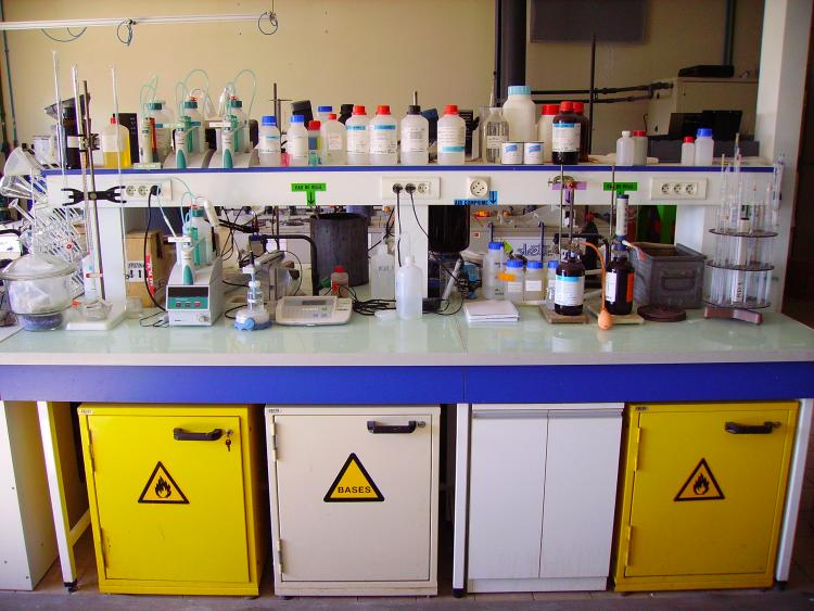 a workbench in a chemistry lab