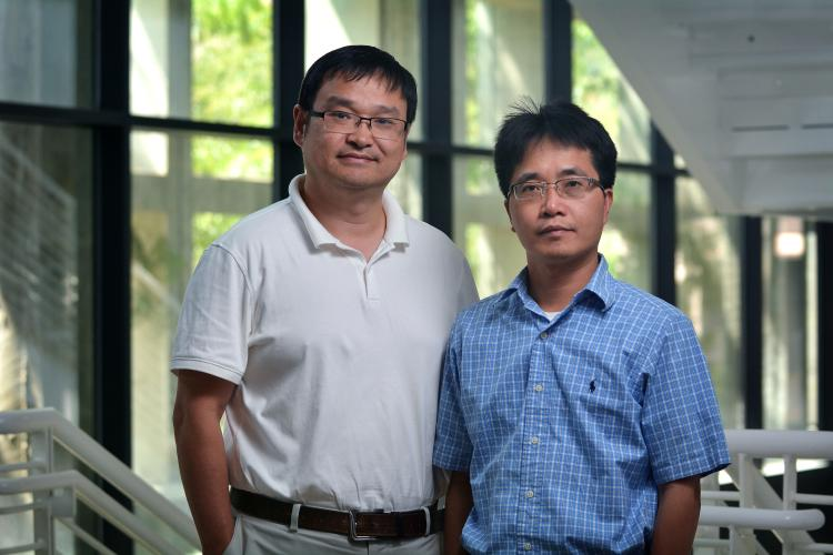 The research team, led by Principal Investigator Ronggui Yang (right) and Co-Principle Investigator Xiaobo Yin (left), will develop a system called RadiCold that if successful will enable efficient, low-cost cooling for thermoelectric power generation.
