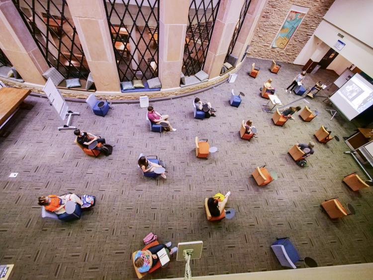 students participate in socially distanced class in Norlin Library
