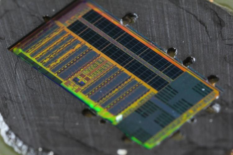 Close-up of light-enabled microprocessor