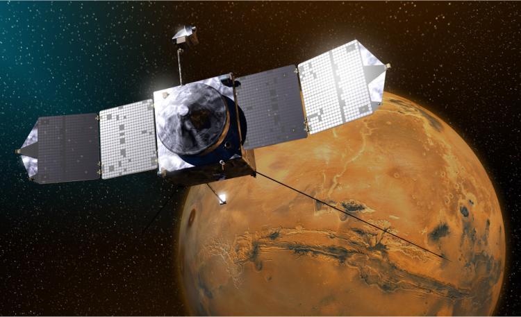 Illustration of MAVEN spacecraft at Mars.