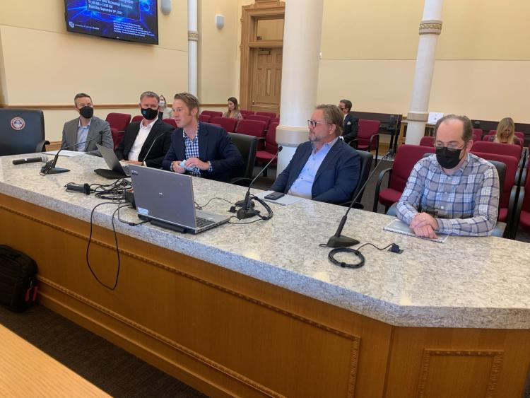 Philip Makotyn, center, presenting before the Colorado General Assembly's Joint Technology Committee on Sept. 9, 2021. (Photo provided)