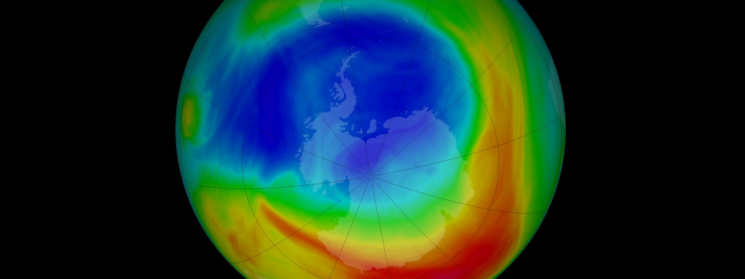 This NASA visualization depicts ozone concentrations from Sept. 8, 2019 in Dobson Units, the standard measure for stratospheric ozone.
