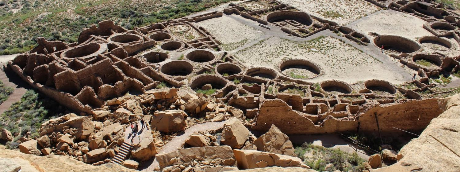 Ancient ruins are seen in part of Chaco Canyon.